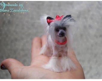 Chinese Crested Dog/OOAK miniature felt dog/Needle felt dog/Dollhouse/Miniature/Tiny animal/ 1:12/Best selling item