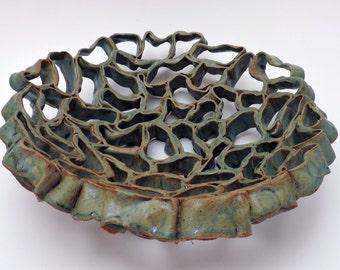 Ceramic Bowl, Green Organic Bowl, Green Coils Bowl,Fruit Bowl, Organic Design, Ceramic Decor, Home Decor
