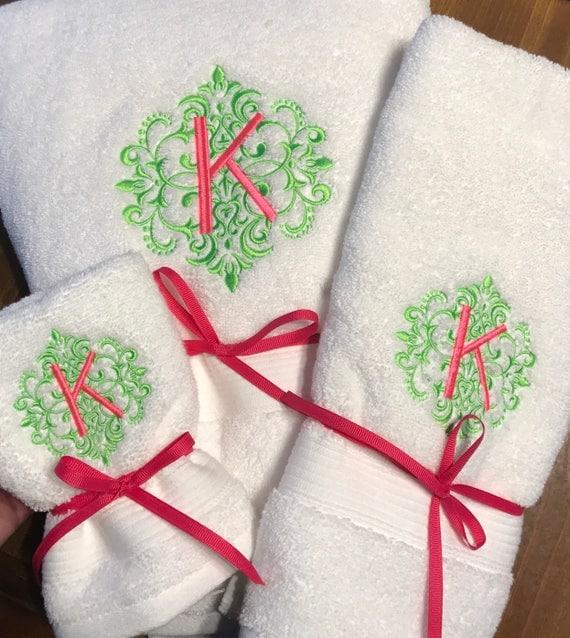 Monogrammed Towel Set Embroidered Towels Custom Towels