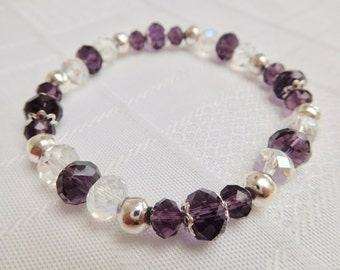 Purple & Silver Crystal Rondelle Stretch Bracelet, Purple Bracelet, Silver Bracelet, Stacking Bracelet, Beaded Bracelet, Gift For Her