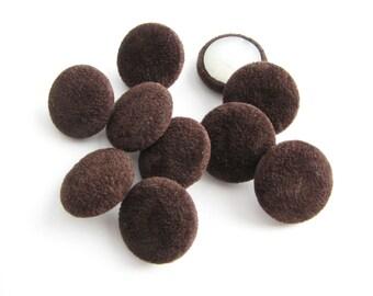 Brown velvet buttons, 10 fabric covered buttons in plushy velvet, 17 mm across