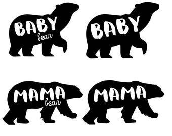 Mama Bear Baby Bear SVG Clipart DXF Vector Mother's Day Mama Baby Bear Cricut SIlhouette Cameo