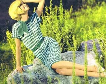 Crochet vintage pattern dress of 1950
