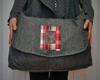 AVAILABLE! Large bag Messenger/shoulder strap/bag style to layer / deer check Red