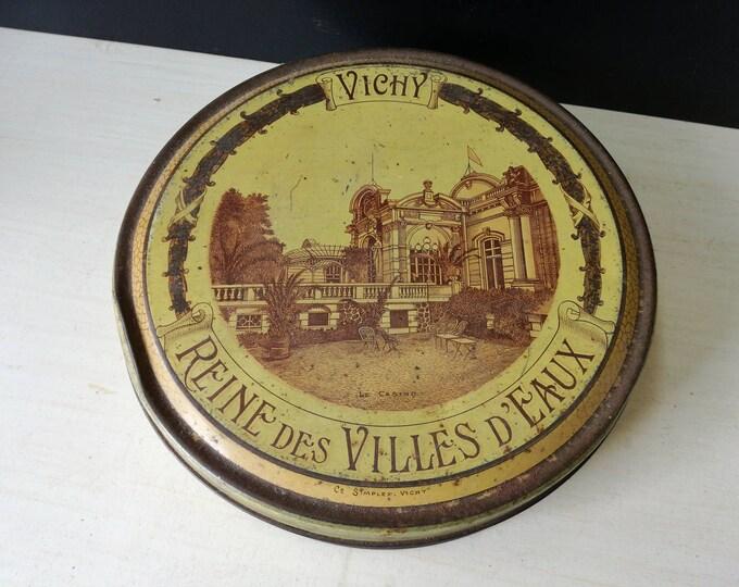 Vintage Vichy tin, reine des villes d'eaux
