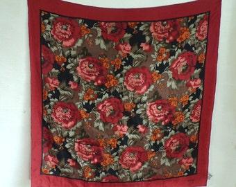 floral scarf, silk scarf, flower scarf, chrysanthemums, square scarf, 70s scarf, adolfo 1970s ascot, mad men, red orange brown green