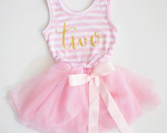 Second Birthday Dress ~ Pink and Gold Birthday Outfit ~ 2nd Birthday Outfit Girl ~ 2nd Birthday Dress ~ Girl Birthday Tutu Dress ~ two dress