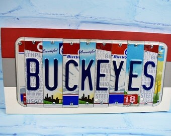 Ohio State License Plate Sign-- OSU Buckeyes-- Ohio State Gift-- Man Cave-- All Ohio Plates--Graduation Gift