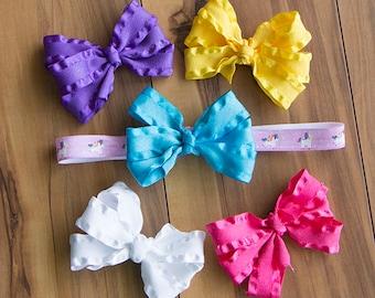 Unicorn Headband/ Hair Bow Set, Interchangeable Ruffle Bows with Unicorn Elastic Headband, Girls Headband/ Bow Gift Set, Unicorn Hair Band