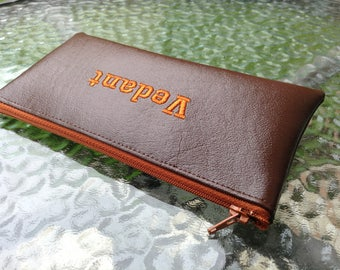 "Pencil case or wallet personalized 9"" x 4"" name or initials Monogrammed embroidered ANY COLOR"