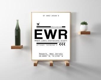 EWR Newark Liberty International Airport Call Letters. Newark, New Jersey .Minimal, scandinavian decor. Travel, wanderlust wall art print.