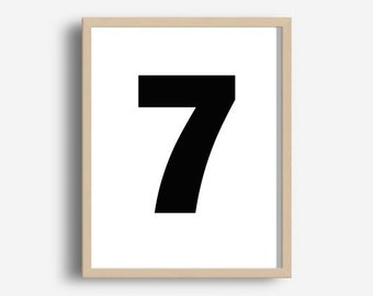 Numbers Print, Number Seven, Typography Art, Printable Wall Art, Modern Wall Print, Digital download