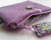 Harris Tweed Purple Purse with Liberty of London Betsy Ann Print Lining