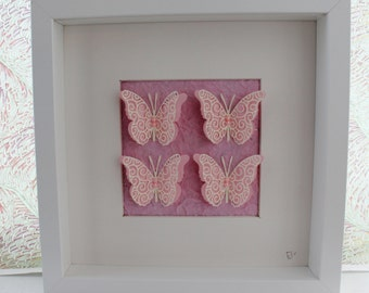 Shabby Chic Framed Pink Butterflies