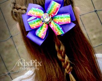 Rainbow Ombre Pinwheel Hair Bow