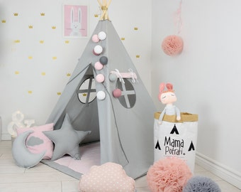 Childrens teepee, playtent, tipi, zelt, wigwam, kids teepee, tent, play teepee, TEEPEE WITH MAT- Fig Princess