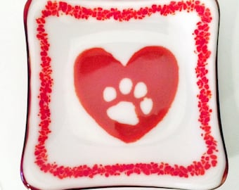 Fused Glass Trinket Dish - White Opal with Red Heart Paw Print and Red/Orange Streaky Back Decorative & Functional Trinket Dish