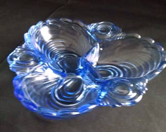 Summit Art Glass Three Section Cloverleaf Relish Dish Reprodeced in Cambridge Caprice Pattern in Moonlight Blue