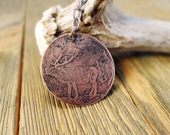 Elk keychain, Etched copper Elk keychain, Bull elk Keyring,  Etched copper wildlife keychain , Etched trophy elk keyring, Fathers day gift