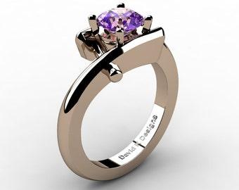 Modern French 14K Rose Gold 1.0 Ct Amethyst Diamond Ring R1100-14KRGDAM