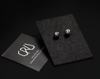 Raw stud earrings natural pyrite crystal cube cluster, handmade