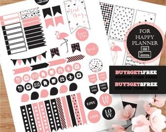 Happy Planner, Flamingos Stickers, Black Pink Planner Kit, Printable  Stickers, MAMBI Black Planner Stickers, Pink Flamingos Weekly Planner