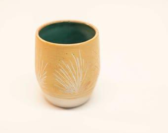ceramic cup, stoneware glass, pottery glass, wheel thrown glass, soda fired glass