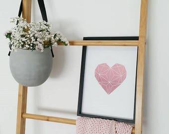 Real Foil Print- Solid Geometric Heart- Wall Art- Home Decor