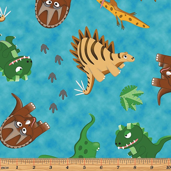 Dino age dinosaur fabric children 39 s fabric toddler for Kids dinosaur fabric