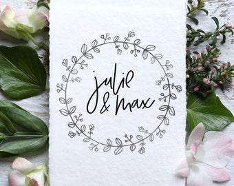 Wedding Monogram, Custom Logo Design | WL--19 | DIY Digital Wedding Logo | Save the Date | Wedding Stationery | Printable, floral circle art