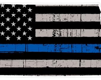 North Dakota State (V35) Thin Blue Line Vinyl Decal Sticker Car/Truck Laptop/Netbook Window
