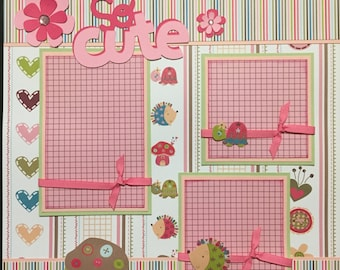 SO CUTE girly Premade 12x12 scrapbook page