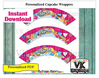 Personalized Shopkins Cupcake Wrappers