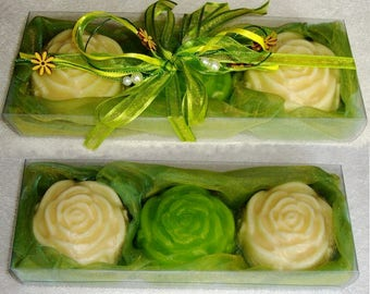 Lime Green Cream Soap Gift Pack, Handmade Luxury Soap, Fine Scented Soap, Floral Flycerin Soap, Gift for Her, Graduation Gift, Teacher Gift