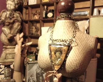 Girl Gypsy Bezel necklace bezel, bezel, * Rock Craftsman hand welded, Vintage, Gypsy necklace, Mixed Media altered necklace