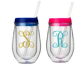 Personalized Wine Tumbler - Vine Monogram Cups - Bachelorette Party Gifts - Girls Weekend Cups - Bachelorette Party Favors - wedding tumbler
