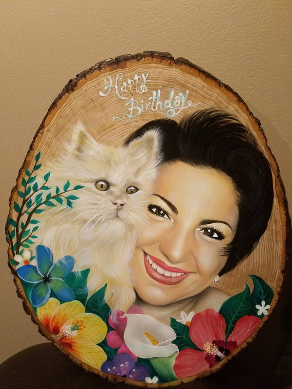 Custom Rustic Oil Portrait on Extra Large Basswood Country Round
