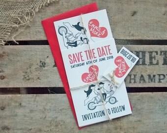 Rustic Vintage Wedding Invitations Love Bike Set