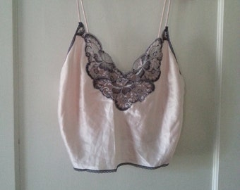 Palest Pink and Gray Bralette or Short Camisole - Val Mode Brand - Size L Large - Made in the USA - 1990s Lingerie