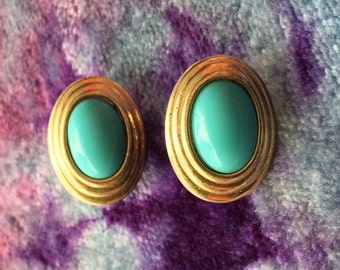Vintage Avon Turquoise & Gold Clipons - Signed 1990s Costume Jewelry