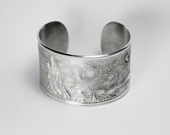 Starry Night Vincent Van Gogh - Solid Sterling Silver 925 bracelet - Made in Rome, Italy