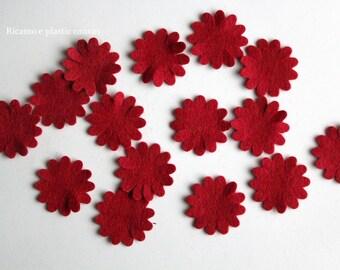 Red Felt Flowers, 20 Die Cut Felt flowers, Die Cut Shapes, Felt Applique, Small Flowers, Felt Embellishments