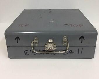 Vintage Metal Drill Box/ Vintage Metal Tool Box/ Grey Metal Box/ Tool Box