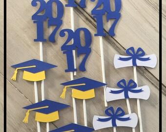 Graduation Decorations, Graduation Party Decorations, Graduation Cupcake Toppers, Graduation Party Supplies, Class Of 2017
