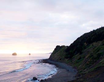 Coastal Sunset | Highway 101, Oregon | Ocean Art Photography | Minimal Wall Decor | Coastal Print