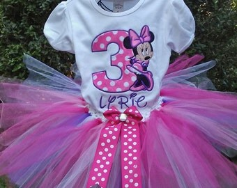 Pink and  Purple Minnie Mouse 3rd Birthday Outfit 3rd Birthday Shirt Pink Minnie Mouse Birthday Shirt Minnie Mouse Birthday Outfit