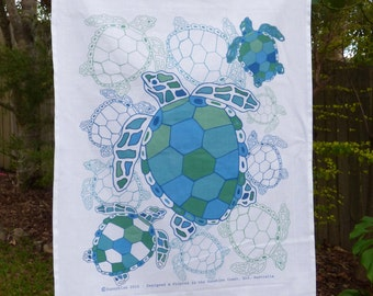 Tea towel, linen, cotton, kitchen tea towel, turtle tea towel, coastal, sea life, ocean, marine life