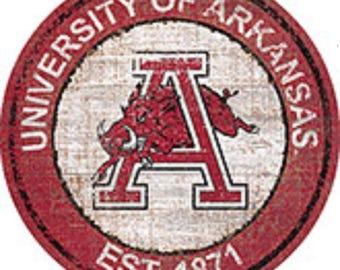 "NCAA Arkansas Round Distressed Historic Established Wood Sign 24"" In Diameter"
