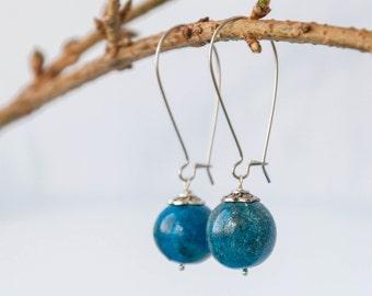 Blue enamel earrings, Polymer clay earrings, Bright blue earrings, Clay earrings, Clay earings, Polymer clay earings, Blue earrings 15mm