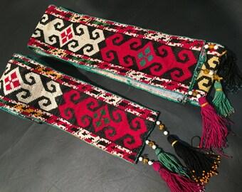 "50"" x 3.5"" Antique Embroidery-Old Textiles-Uzbek Suzani Embroidery-Uzbek Handwork-Silk Thread-Silk Fabric-Afghanistan Uzbek Handmade"